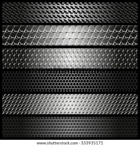 Set of metal textures, web design, vector, eps 10