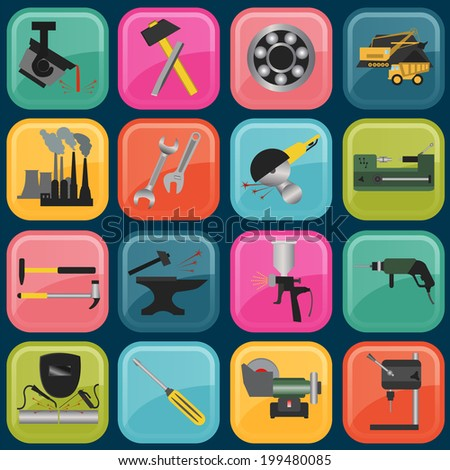 Set of metal working tools icons. Vector illustration - stock vector