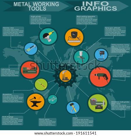 Set of metal working tools Infographics. Vector illustration - stock vector