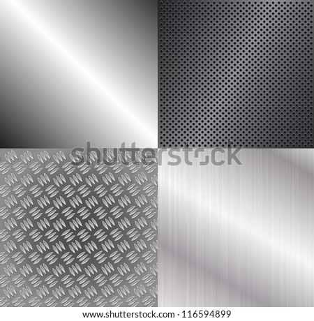 Set of metallic backgrounds - stock vector