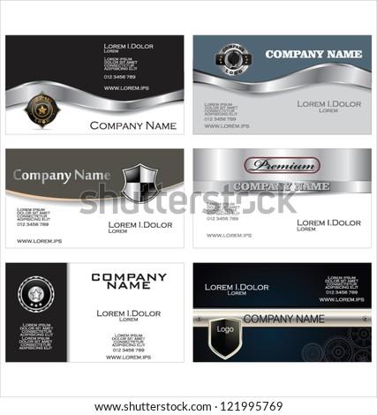 Set of 6 metallic business card templates - stock vector
