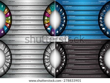 Set of Metallic Diagram Semi-circle Design, 8 Options, 4 Different Styles, 2 Side for Number and  Business Icon, Information Text Design On Metallic Multicolor Background, Vector Illustration