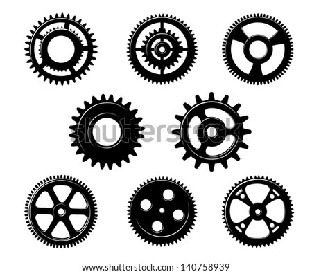 Set of metallic pinions and gears for industry concept design isolated on white background. Jpeg (bitmap) version also available in gallery - stock vector