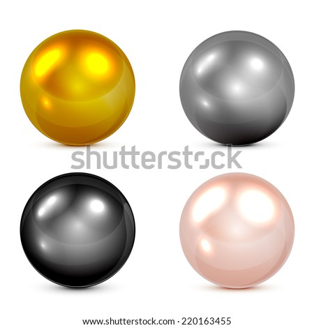 Set of metallic spheres and pearls isolated on white background, illustration. - stock vector