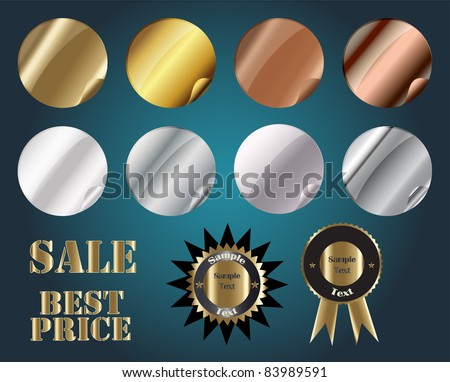 Set of Metallic Stickers, Vector, easy to edit, each sticker in separate layer - stock vector