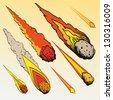 Set of meteorites, vector illustration - stock vector