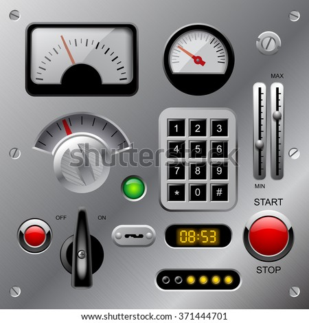Set of meters, buttons and other machinery parts on metallic dashboard panel. Vector illustration - stock vector