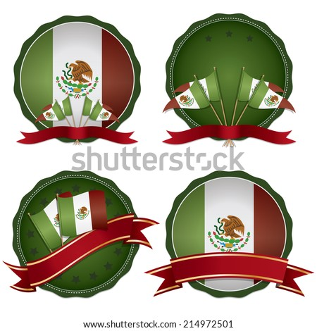 set of Mexican badges with flags and ribbons, isolated on white with transparencies - stock vector