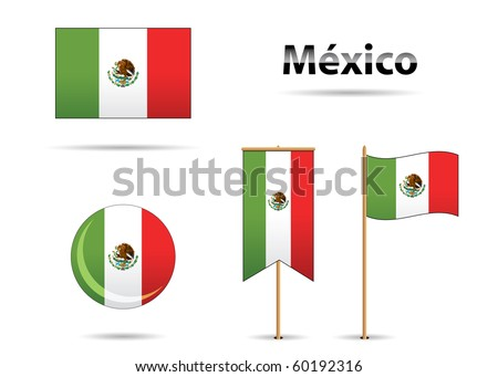 set of mexican flags in bicentennial anniversary - stock vector