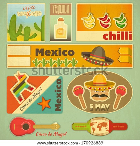 Set of Mexican Stickers in Retro Style. Vector Illustration.