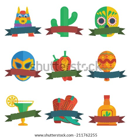 set of mexican themed badges with ribbons for your text, isolated on white - stock vector