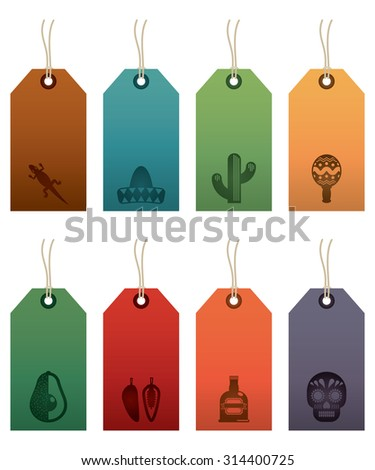 set of mexican themed gift tag labels, isolated on white - stock vector