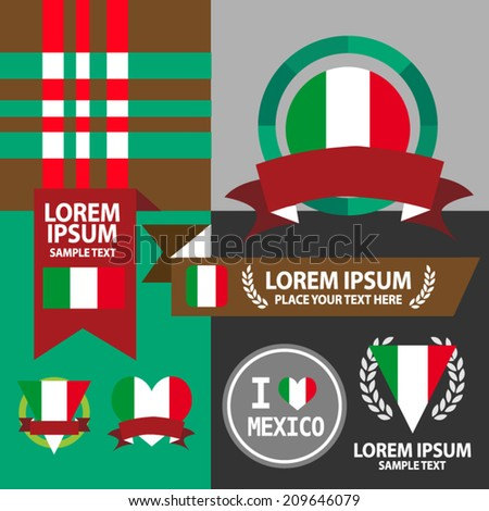 Set of Mexico flag, emblem and pattern background.  - stock vector
