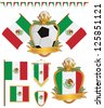 set of mexico football supporter flags and emblems, isolated on white - stock photo