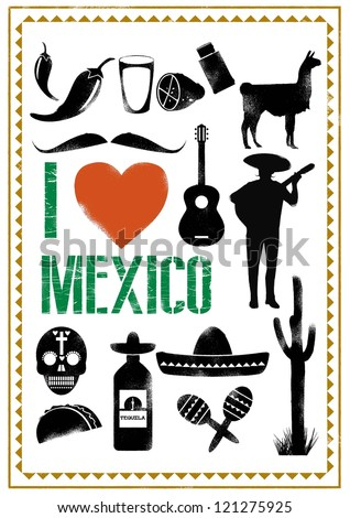 Set of Mexico icons in stencil style, Vector - stock vector