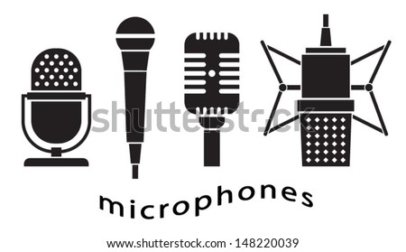 Set of microphones - music - microphone icon - vintage microphone - stock vector
