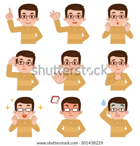Set of middle-aged man facial expressions on white background - stock vector