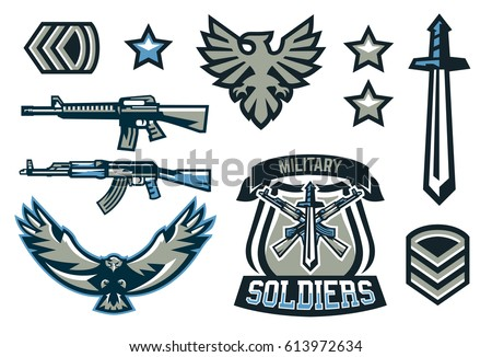 set military military badges emblems automatic stock vector 613972634 shutterstock. Black Bedroom Furniture Sets. Home Design Ideas