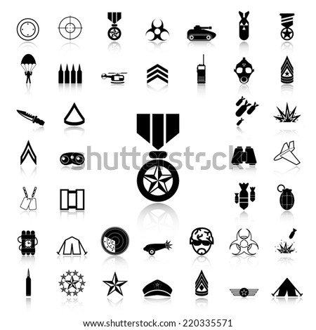 Set of Military black icons and silhouettes - stock vector