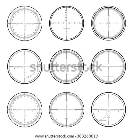 Set of military crosshair sniper scopes isolated on white background. Vector illustration. - stock vector