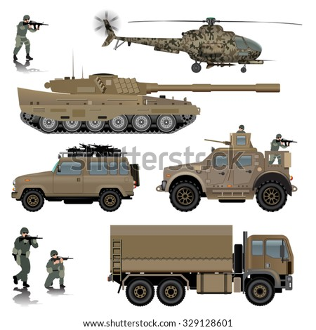 Set of military vehicles. Tank, helicopter, land vehicles and soldiers. Vector illustration - stock vector