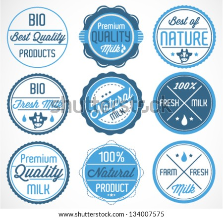 Set of Milk Badges and Stickers in Retro Style - stock vector