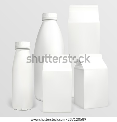 Set of milk cartons. Each object can be used separately. Illustration contains gradient meshes. - stock vector