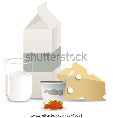 Set of milk products with milk, cheese, yogurt and a milk bottle - stock vector
