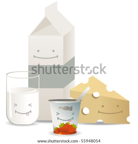 Set of milk products with milk, cheese, yogurt and a milk bottle all with happy faces - stock vector
