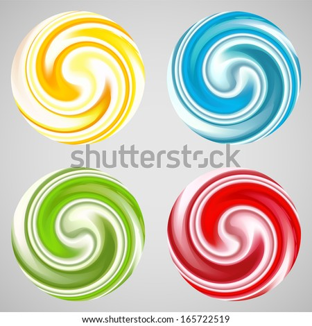Set of milk yogurt cream curl or lollipop. Vector illustration for sweet sugarplum design. Smooth textures of sugar candy. Bright red, blue, yellow, green and white color. - stock vector