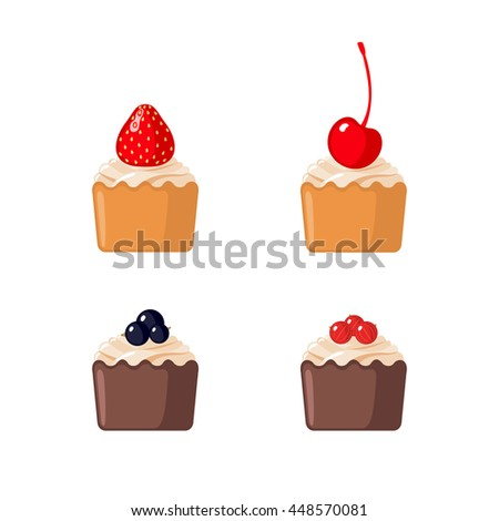 Set of mini cupcakes with berries isolated on white background - stock vector