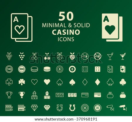 Set of 50 Minimal and Solid Casino Icons. Vector Isolated Elements. - stock vector
