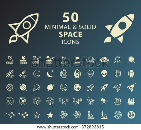 Set of 50 Minimal and Solid Space Icons. Vector Isolated Elements. - stock vector