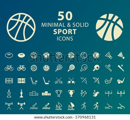 Set of 50 Minimal and Solid Sport Icons. Vector Isolated Elements. - stock vector
