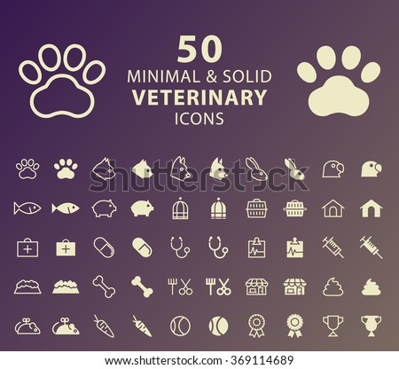 Set of 50 Minimal and Solid Veterinary Icons. Vector Isolated Elements. - stock vector