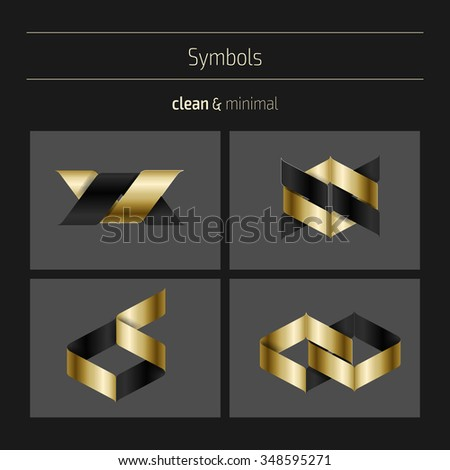 Set of minimal geometric monochrome shapes. Trendy hipster icons and logotypes. Religion, philosophy, spirituality, occultism symbols collection. Business signs, labels, badges, frames and borders - stock vector