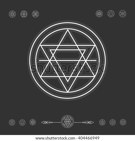 Set of minimal geometric shapes. Occultism symbols collection, sacred geometry.