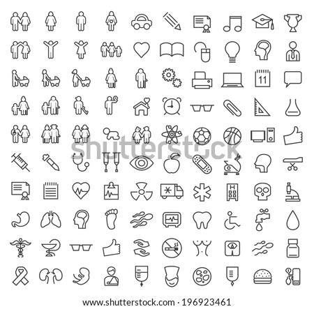 Set of 100 Minimal Modern Elegant White Stroke Icons (Family, People Education, School and Medical) - stock vector