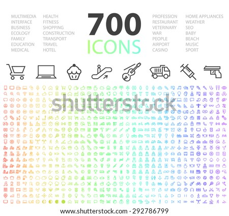 Set of 700 Minimal Modern Universal Standard High Quality Thin Line Icons on White Background. - stock vector