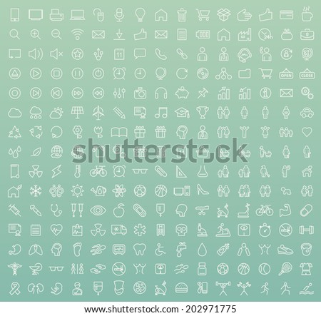 Set of 225 Minimal Modern White Thin Stroke Icons (Multimedia, Business, Ecology, Education, Family, Medical, Fitness) on Colored Background. - stock vector