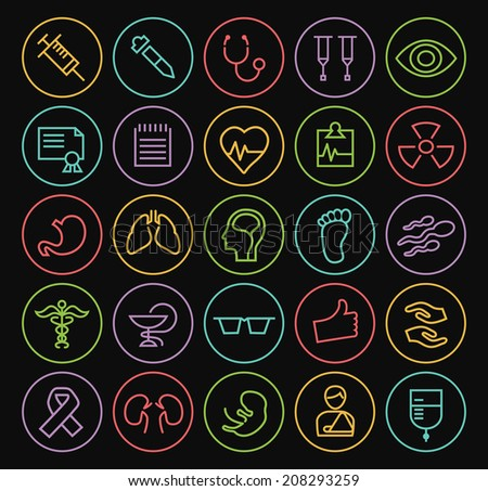 Set of Minimal Simple Medical Thin Neon Line Icons on Minimal Circular Buttons on Black Background. - stock vector