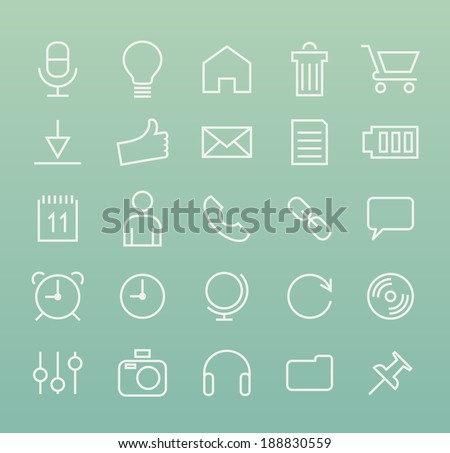 Set of Minimal Simple Multimedia and Interface Thin Line Icons on Green Background 2. - stock vector