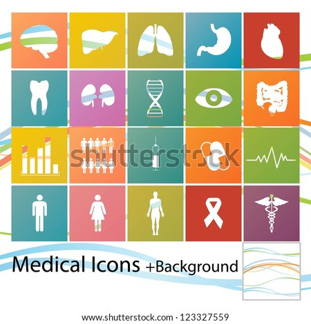 Set of minimal style medical icons - stock vector