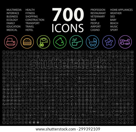 Set of 700 Minimal Universal Isolated Modern Simple Elegant Neon Color Thin Line Icons on Circular Buttons on Black Background. - stock vector