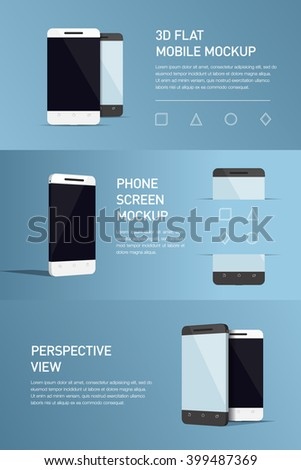 Set of minimalistic 3d isometric illustration cell phone. perspective view. Mockup generic smartphone. Template for infographics or presentation UI design. Concepts graphic design, web banner, print