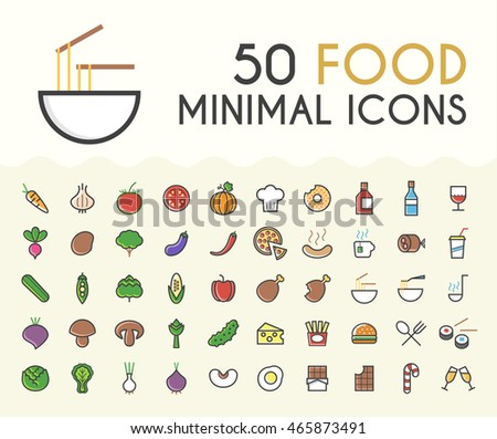 Set of 50 Minimalistic Solid Line Colored Food Icons. Isolated Vector Elements.