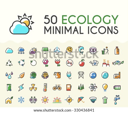 Set of 50 Minimalistic Solid Line Coloured Multimedia Icons. Isolated Vector Elements. - stock vector