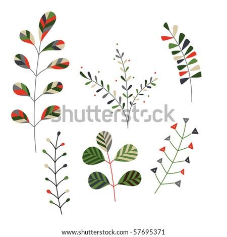 Set of minimalistic, stylized plants. - stock vector