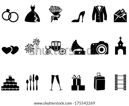 Set of minimalistic wedding icons - stock vector