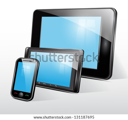 Set of mobile electronic technics. Vector - stock vector
